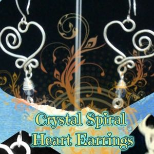 Handcrafted Blue Crystal Spiral Heart Earrings